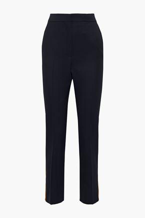 ROKSANDA Colwyn satin-trimmed wool-twill slim-leg pants