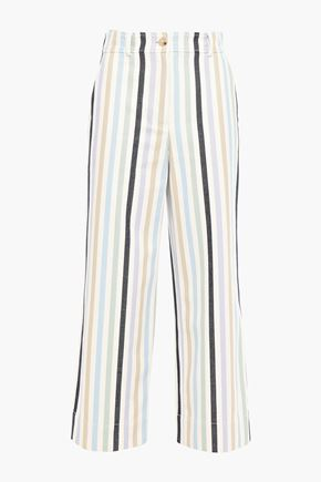 TORY BURCH Cropped striped cotton-canvas straight-leg pants