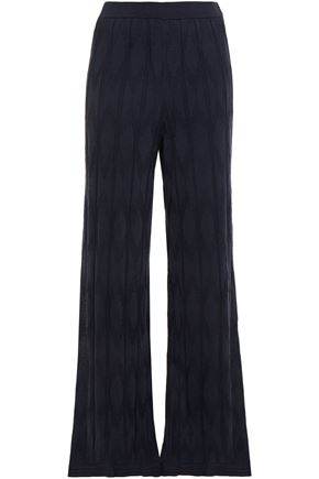 M MISSONI Ribbed crochet-knit wool-blend wide-leg pants