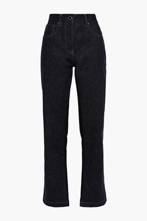 VICTORIA BECKHAM Satin-paneled high-rise straight-leg jeans