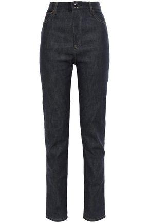 VICTORIA BECKHAM Logo-embroidered high-rise slim-leg jeans