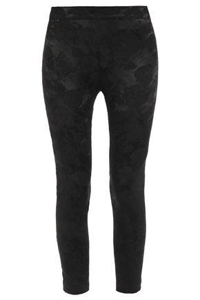 ANN DEMEULEMEESTER Cropped satin-jacquard leggings