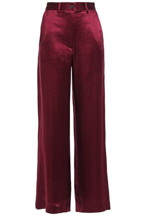 ANN DEMEULEMEESTER Crinkled-satin wide-leg pants