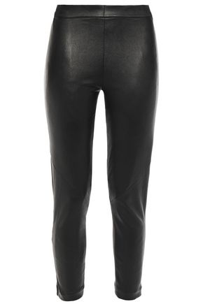 ANN DEMEULEMEESTER Cropped stretch-leather leggings