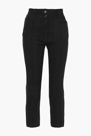 ANN DEMEULEMEESTER Cropped striped jacquard slim-leg pants