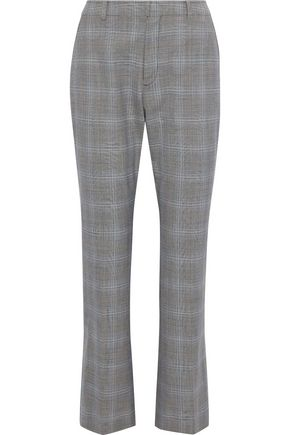 ADEAM Prince of Wales checked woven bootcut pants
