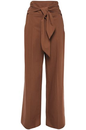 BRUNELLO CUCINELLI Belted cotton wide-leg pants
