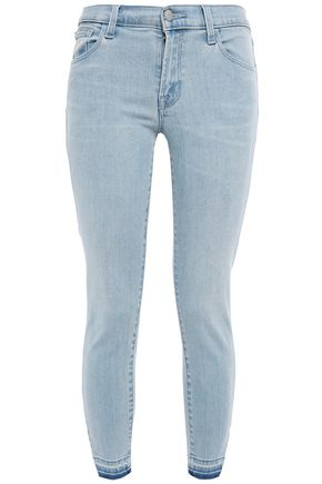 J BRAND Cropped frayed mid-rise skinny jeans