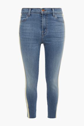 J BRAND Stripe-trimmed faded mid-rise skinny jeans