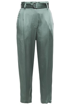 BRUNELLO CUCINELLI Cropped belted satin tapered pants