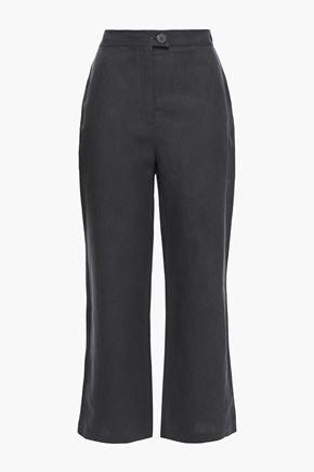 MARA HOFFMAN Arlene cropped Tencel and linen-blend straight-leg pants