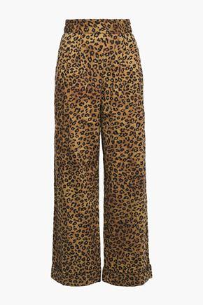 MARA HOFFMAN Embroidered leopard-print organic cotton wide-leg pants