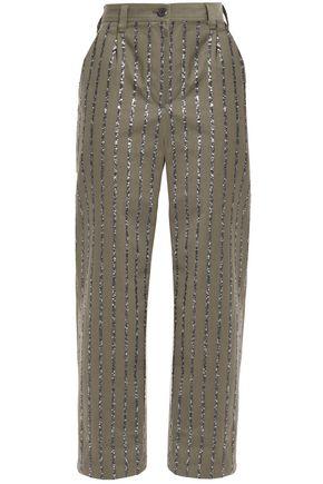 BRUNELLO CUCINELLI Sequin-embellished cotton wide-leg pants