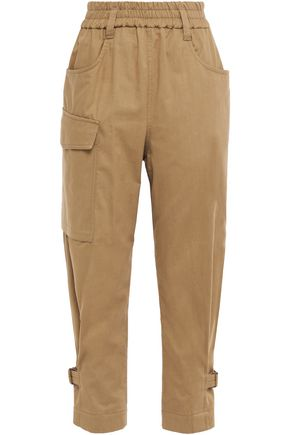 BRUNELLO CUCINELLI Cropped bead-embellished cotton tapered pants