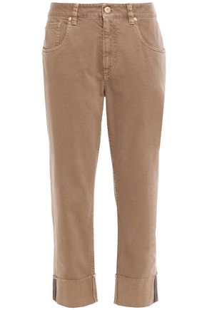BRUNELLO CUCINELLI Cropped bead-embellished high-rise straight-leg jeans