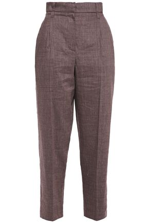 BRUNELLO CUCINELLI Cropped pleated mélange linen-blend tapered pants