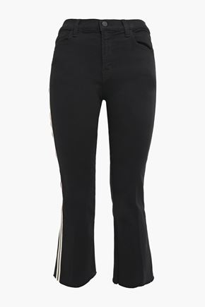 J BRAND Cropped cotton-blend mid-rise bootcut jeans