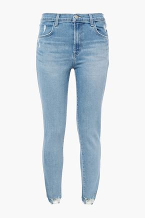 J BRAND Distressed faded mid-rise skinny jeans