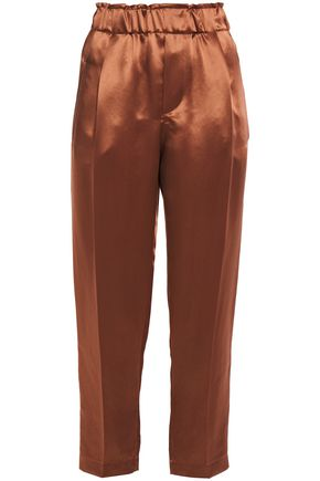 BRUNELLO CUCINELLI Copped satin tapered pants