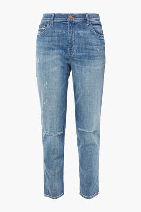 J BRAND Distressed faded mid-rise slim-leg jeans