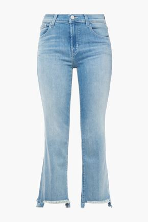 J BRAND Selena cropped distressed mid-rise flared jeans
