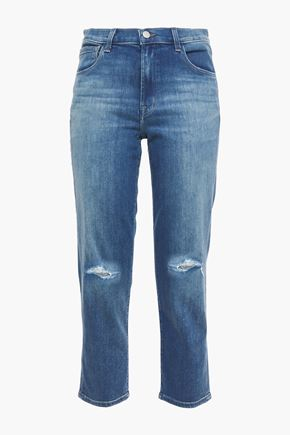J BRAND Cropped distressed faded high-rise slim-leg jeans