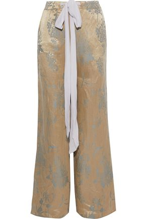 ESTEBAN CORTAZAR Linen and silk-blend satin-jacquard wide-leg pants