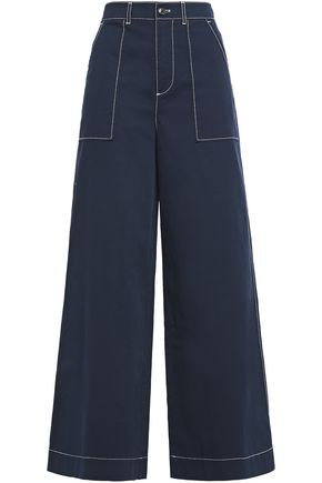 GANNI Total Eclipse stretch-cotton gabardine wide-leg pants