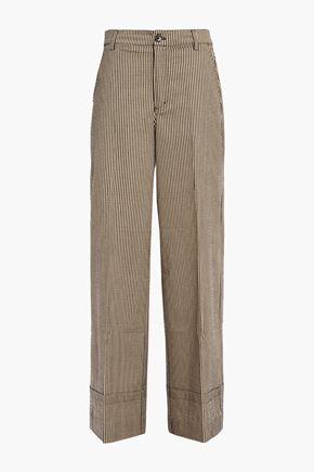 GANNI Striped cotton-blend wide-leg pants
