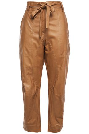 BRUNELLO CUCINELLI Cropped belted leather pants