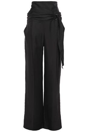 BRUNELLO CUCINELLI Belted silk-twill wide-leg pants