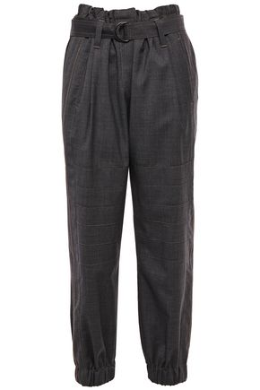 BRUNELLO CUCINELLI Bead-embellished cropped wool tapered pants