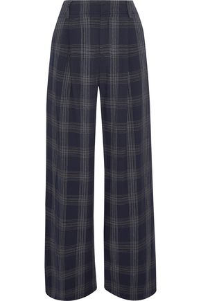 VINCE. Pleated checked flannel wide-leg pants