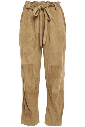 BRUNELLO CUCINELLI Cropped suede straight-leg pants