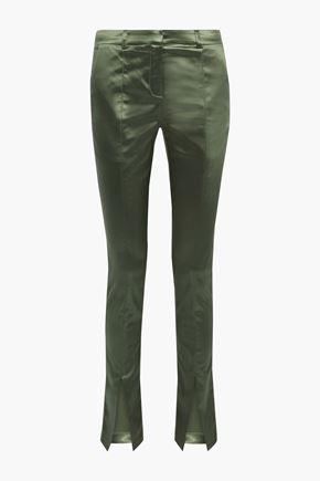 DE LA VALI Blues stretch-satin slim-leg pants