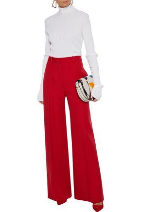 Victoria Beckham Wool-gabardine Wide-leg Pants In Red