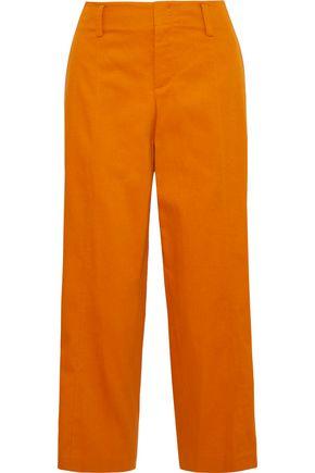 VINCE. Cropped cotton-blend twill wide-leg pants