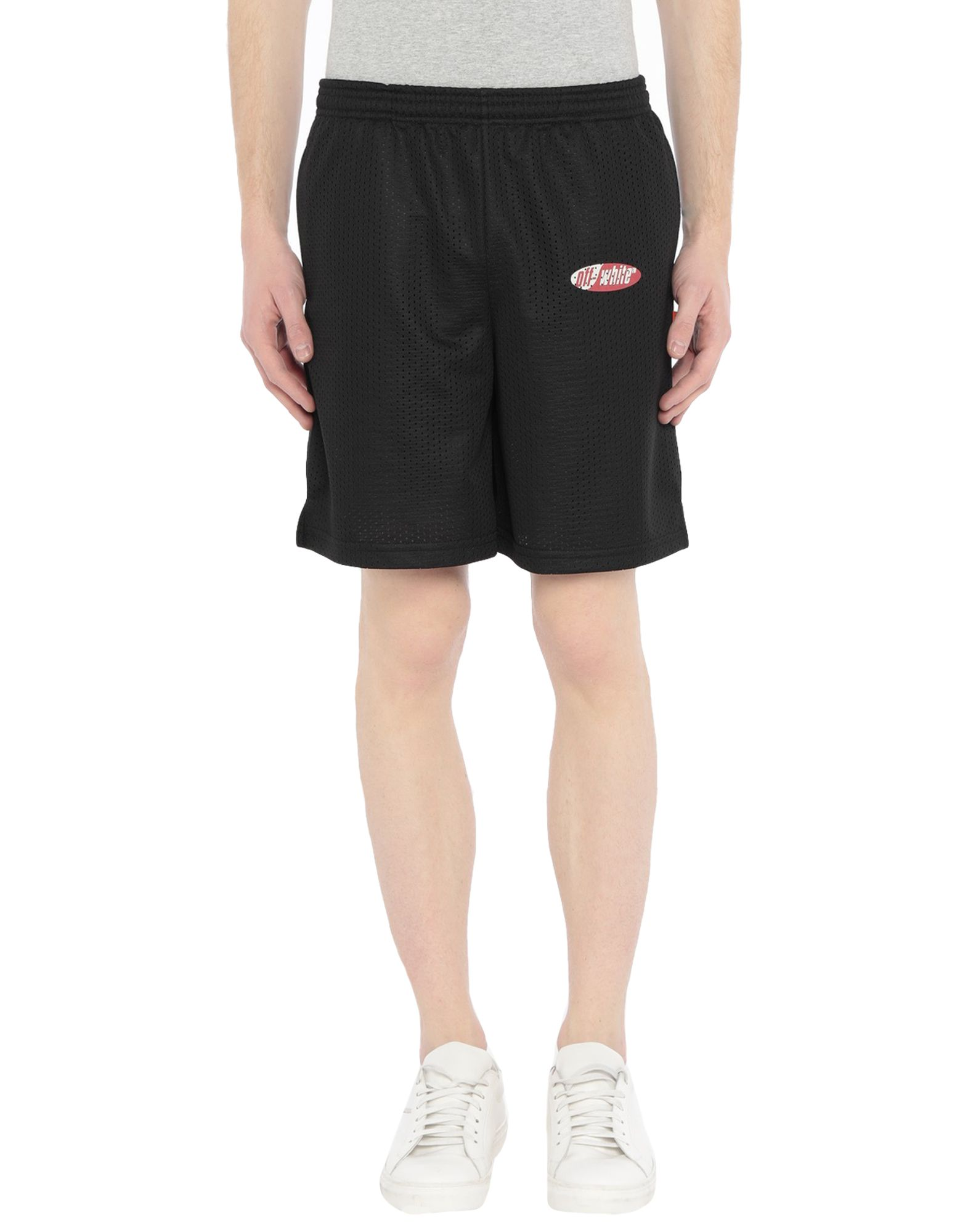 OFF-WHITE™ Bermudas. jersey, print, logo, solid color, mid rise, comfort fit, drawstring closure, multipockets. 100% Polyester