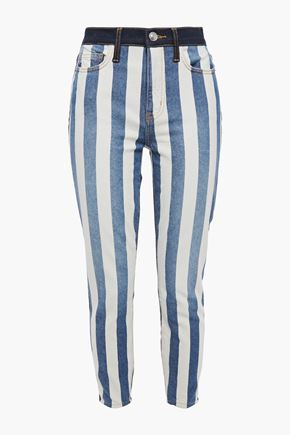 CURRENT/ELLIOTT The Stiletto cropped striped high-rise skinny jeans
