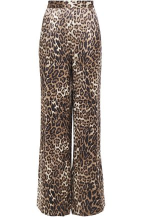 NILI LOTAN Vivianna leopard-print satin wide-leg pants