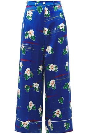 RACIL Floral-print silk-satin wide-leg pants