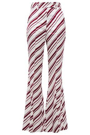 RACIL Ziggy striped satin-twill flared pants