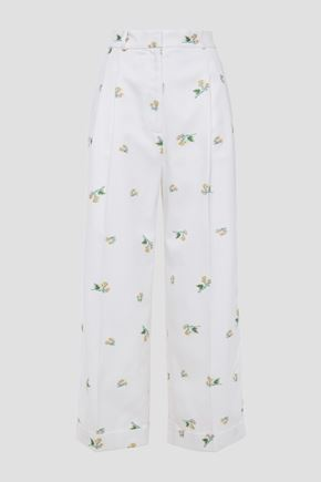 RACIL Agadir satin-trimmed cotton-blend jacquard wide-leg pants
