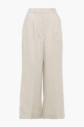 RACIL Agadir satin-trimmed pinstriped linen wide-leg pants