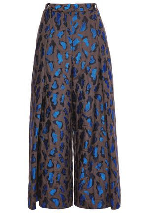 JUST CAVALLI Cropped metallic cotton-blend jacquard wide-leg pants