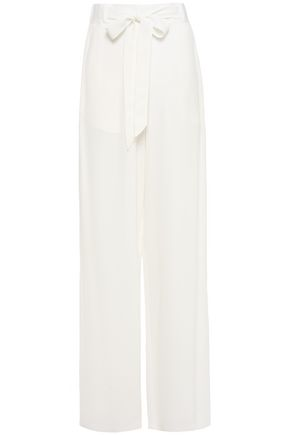JUST CAVALLI Bow-detailed crepe wide-leg pants