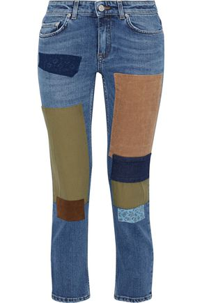 ACNE STUDIOS Row cropped patchwork low-rise skinny jeans