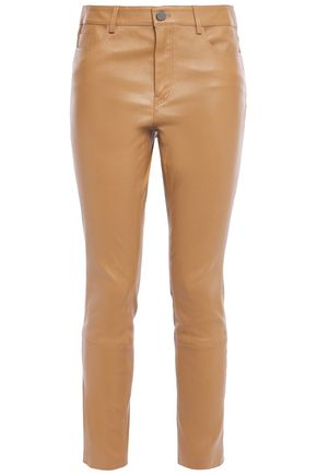 THEORY Cropped stretch-leather slim-leg pants