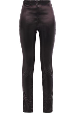 THEORY Zip-detailed stretch-satin skinny-leg pants