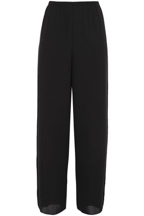 THEORY Gathered silk crepe de chine wide-leg pants